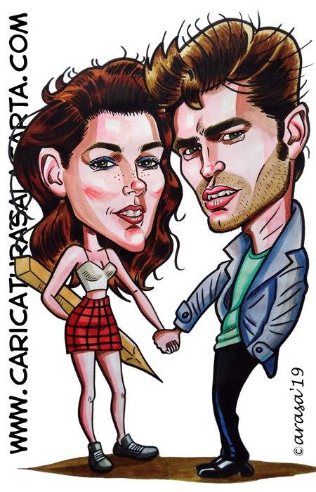 Caricaturas de famosos en 1 hora: Kristen Stewart y Robert Pattinson (Crepúsculo)