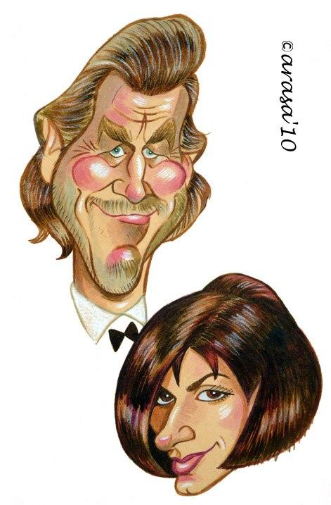 Caricatura de Jeff Bridges y Sandra Bullock