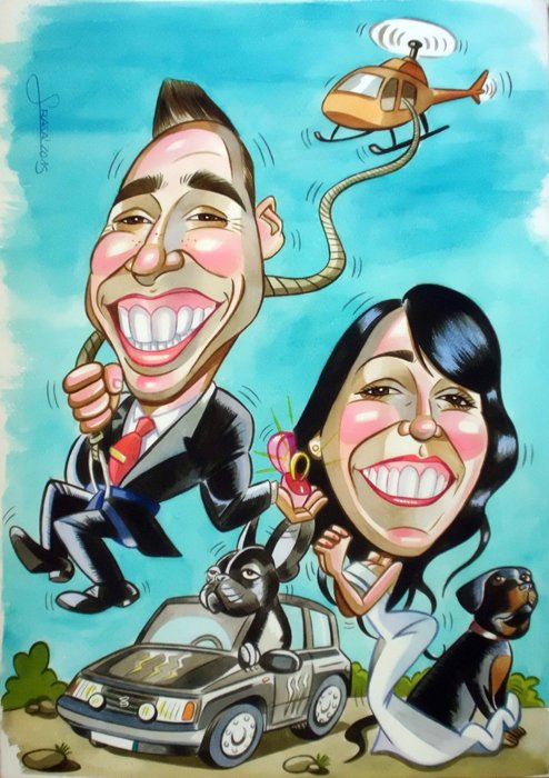 Caricaturas personalizadas para invitaciones de boda: Cristina