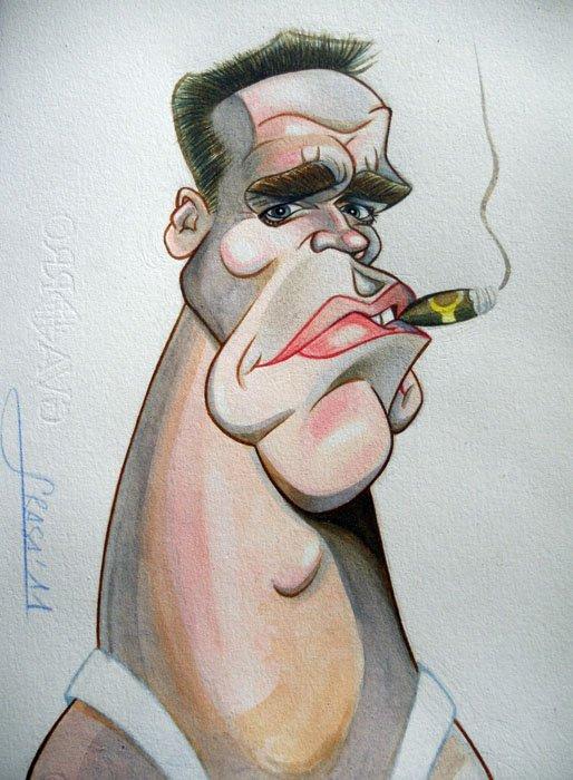 Caricatura de Arnold Schwarzenegger