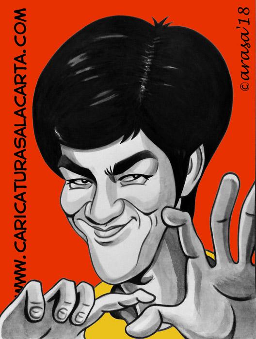 Caricaturas de famosos: Bruce Lee