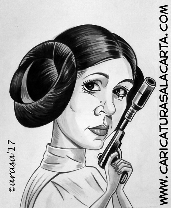 Caricaturas famosos Carrie Fisher Leia