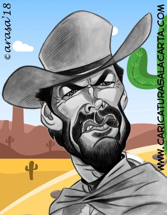 Caricaturas de famosos: Clint Eastwood