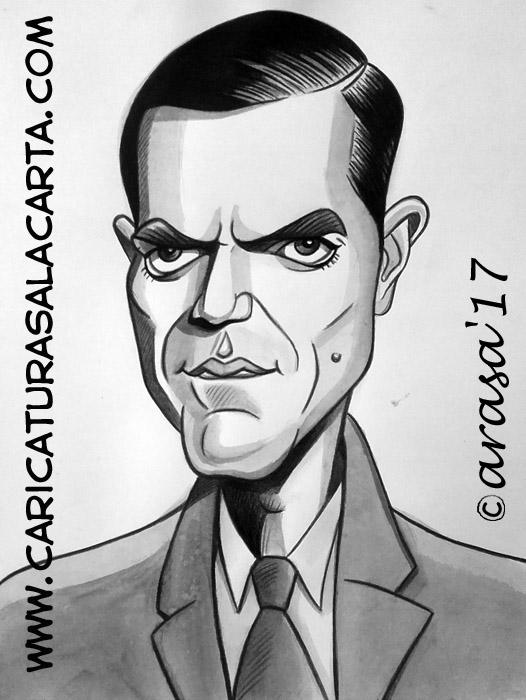 Caricaturas en blanco y negro de famosos: Michael Shannon, actor nominado al Oscar