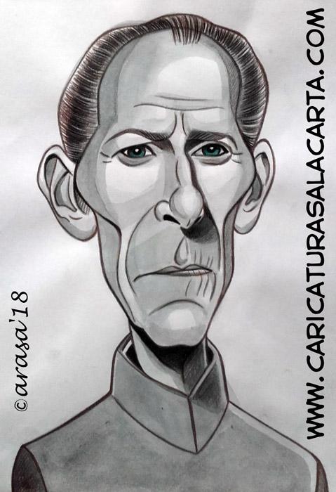 Caricatura Peter Cushing Guerra Galaxias
