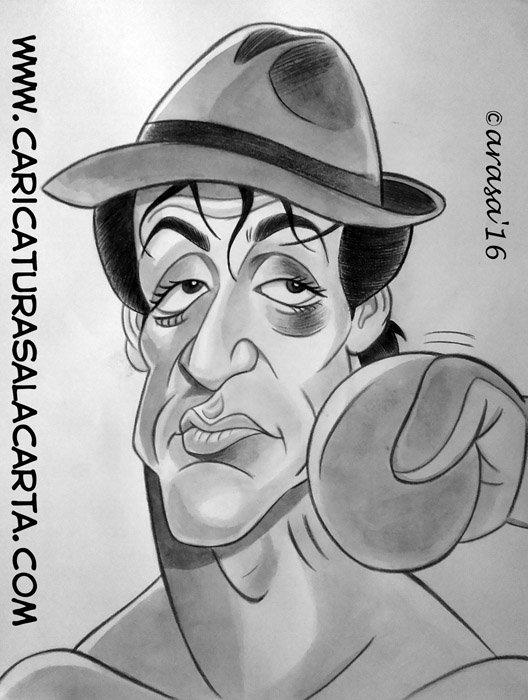 Caricaturas de famosos: Sylvester Stallone como Rocky