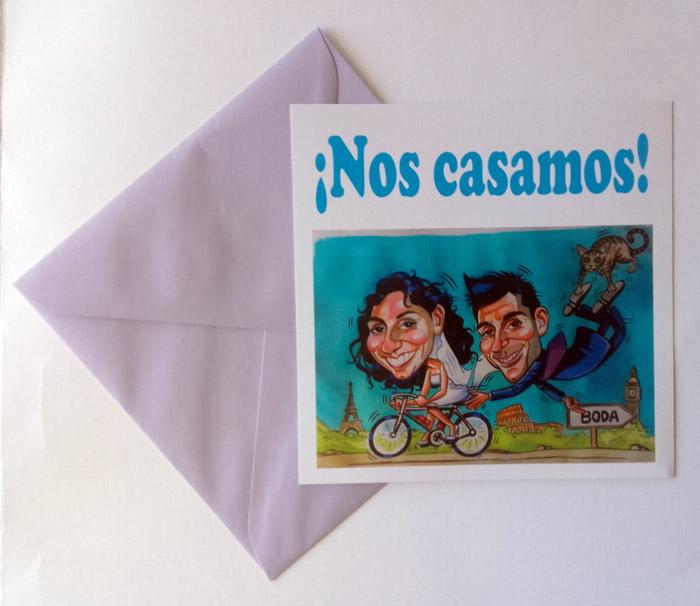 Invitaciones de boda con caricatura: Laura