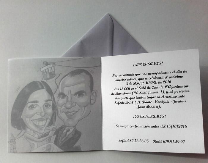 Invitaciones de boda divertidas y originales con caricaturas para Sofia