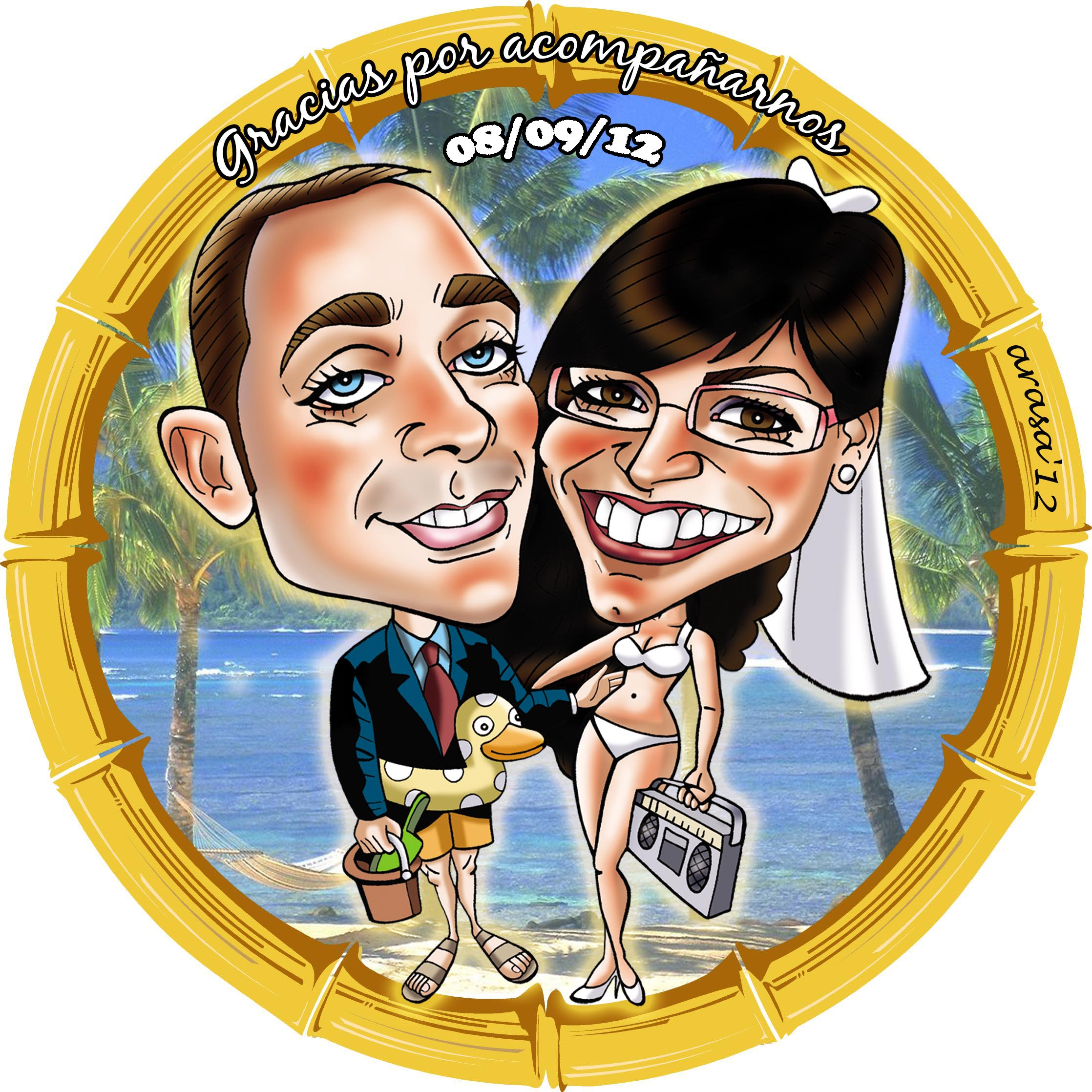 Invitaciones de boda con caricatura: Cristina