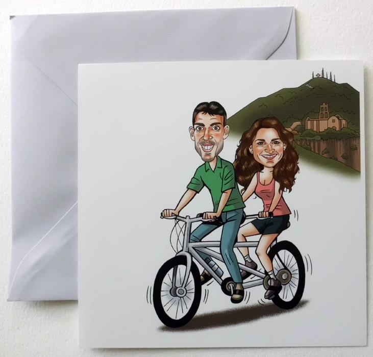 Invitaciones de boda con caricatura: Marta y Pablo