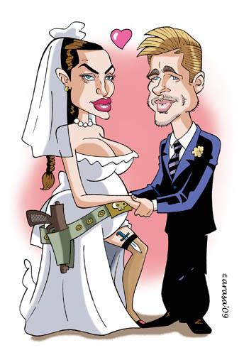 Caricatura de Angelina y Brad