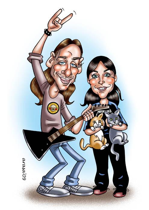 Caricatura de Rocio y David