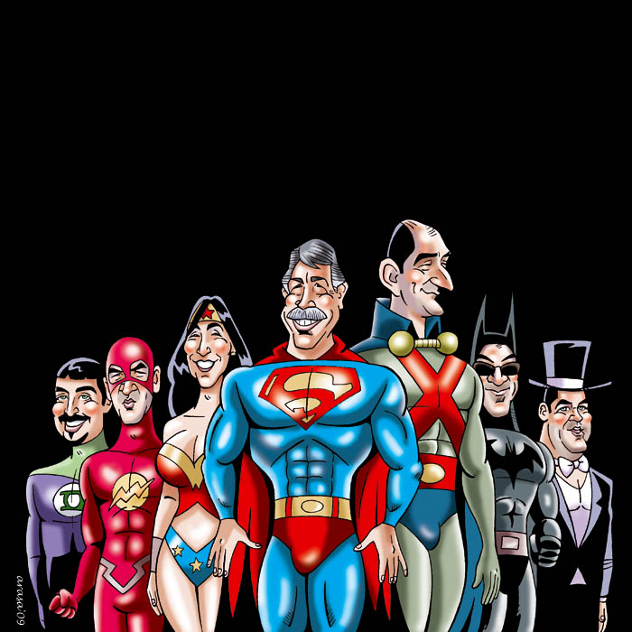 Caricatura de Grupo Super Heroes