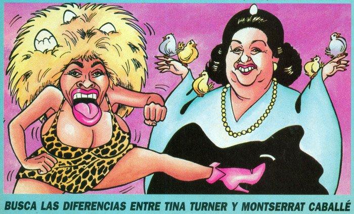 Caricatura de Tina Turner y Montserrat Caballé