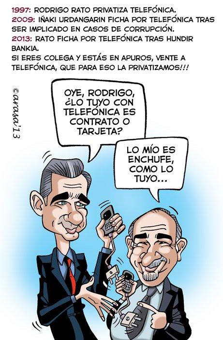 Caricatura de Rato a telefónica