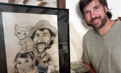 Caricaturizado con su caricatura
