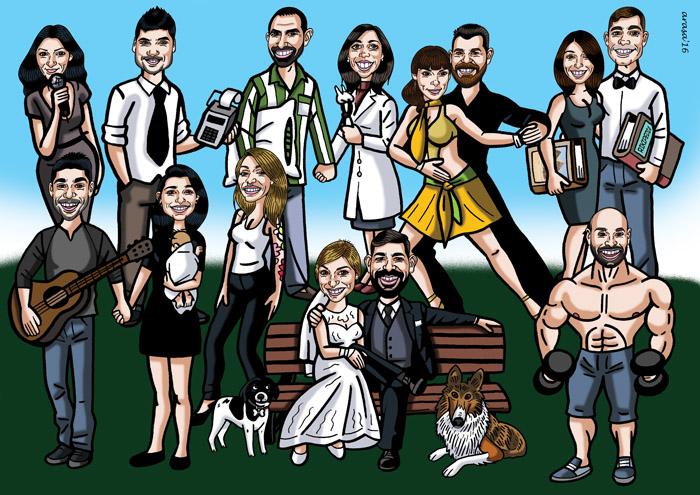 Caricatura de grupo para Mariana
