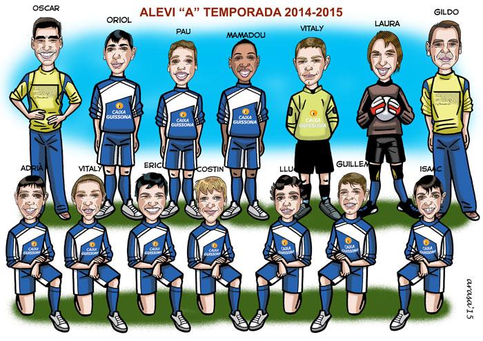 Caricatura de grupo equipo de fútbol infantil para Montse