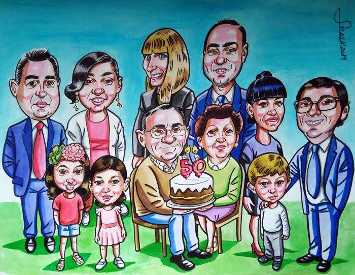 Caricaturas personalizadas divertidas de grupo: Estela