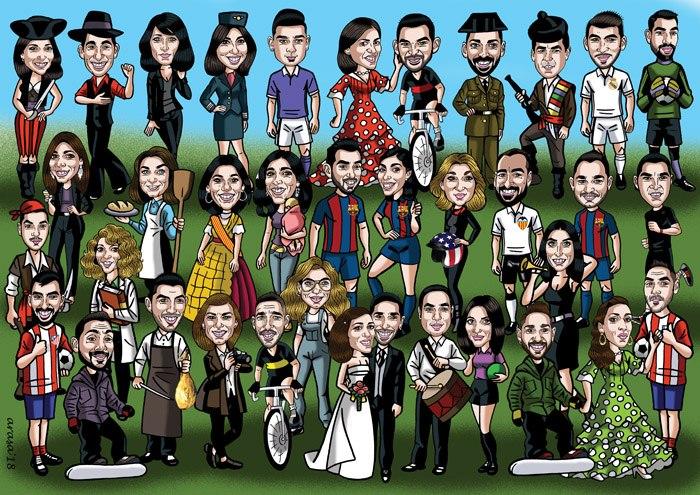 Caricaturas personalizadas divertidas de grupo: María Victoria
