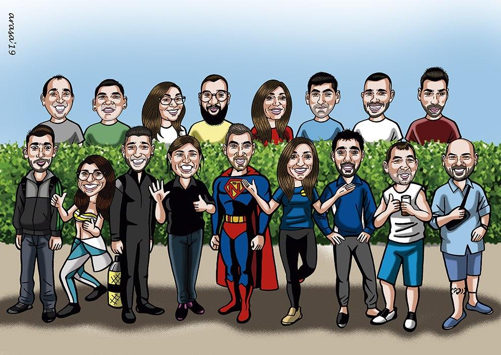 Caricaturas personalizadas de grupo digital para regalos originales y divertidos: Joana