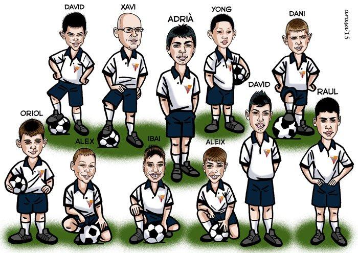 Caricatura de grupo equipo de fútbol infantil para Rosa