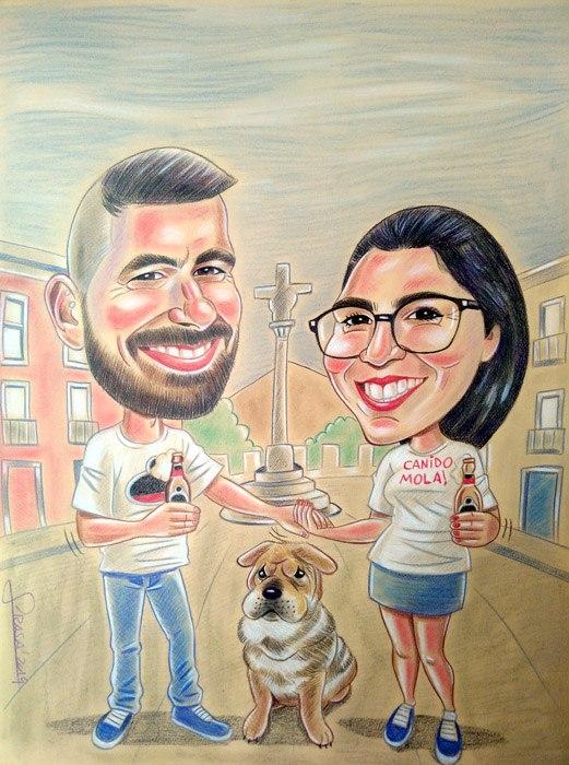 Caricaturas personalizadas divertidas al pastel (Carlos)