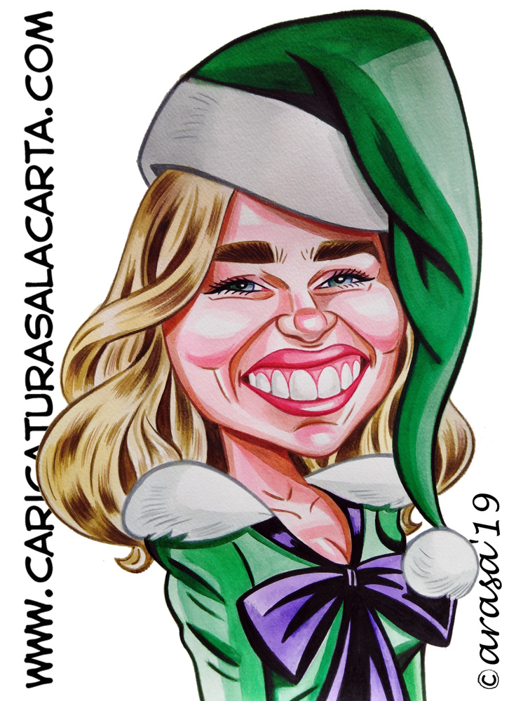 Caricaturas de famosos: Emilia Clarke en Last Christmas
