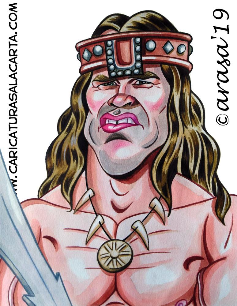 Caricaturas de famosos: Arnold Schwarzenegger Conan