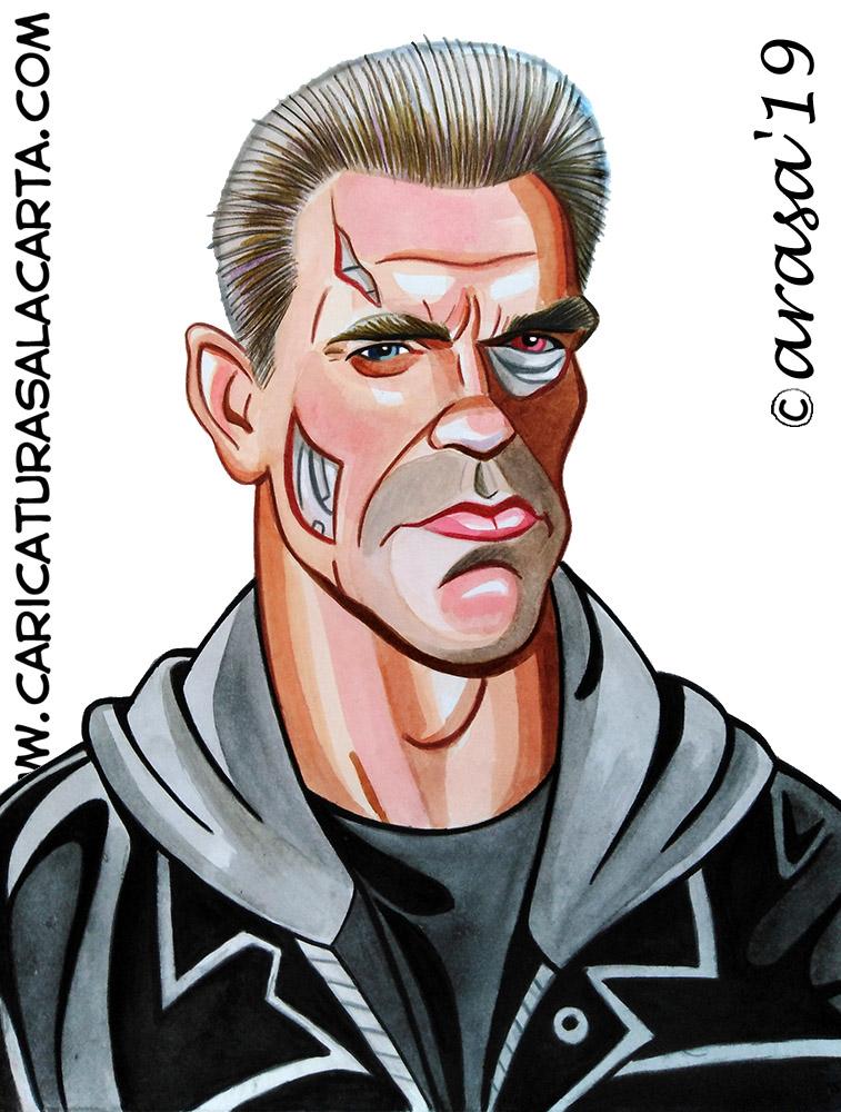 Caricaturas de famosos: Arnold Schwarzenegger Terminator