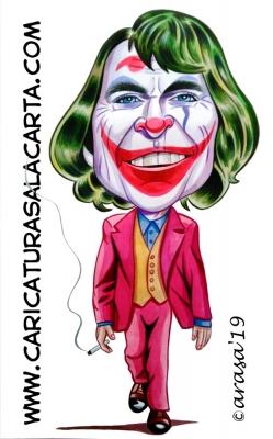 Caricaturas famosos Joaquin Phoenix Joker