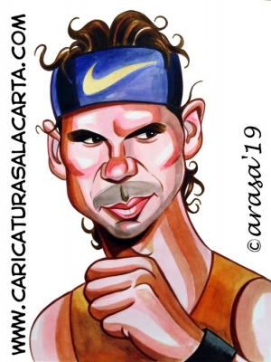 Caricaturas famosos deportistas tenista Rafa Nadal