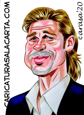 Caricaturas famosos Brad Pitt