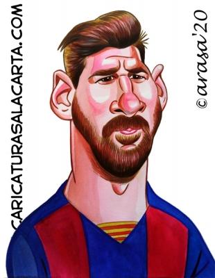 Caricaturas futbolistas Leo Messi Barça