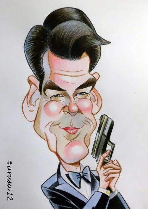 Caricatura de Pierce Brosnan