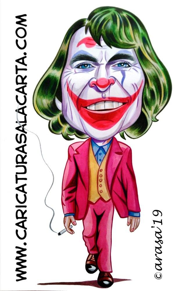 Caricaturas de famosos actores: Joaquin Phoenix como Joker