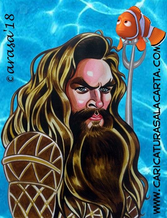 Caricaturas de famosos actores: Jason Momoa (Aquaman)