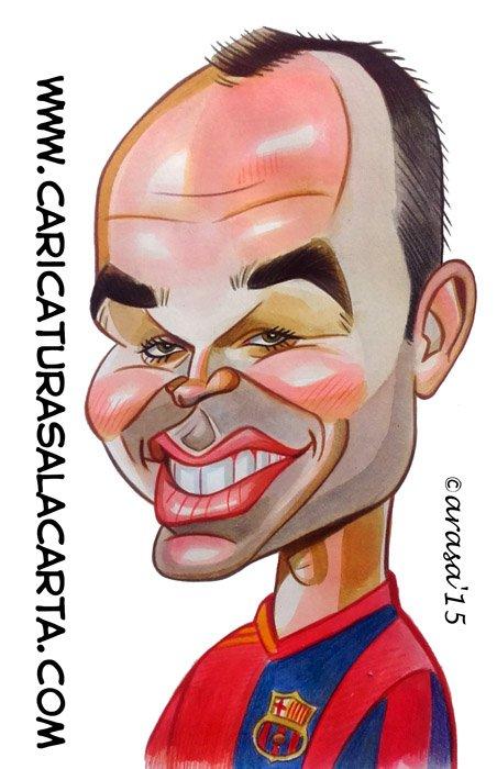 Caricaturas de famosos futbolistas: Iniesta