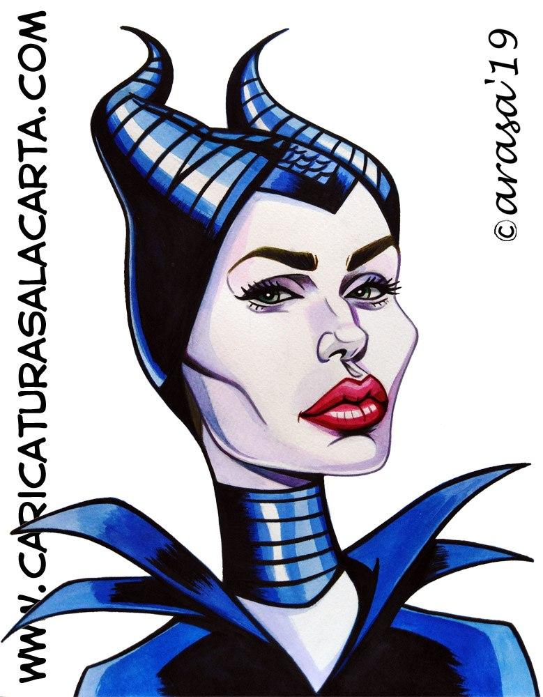 Caricaturas de famosos: Angelina Jolie Maléfica