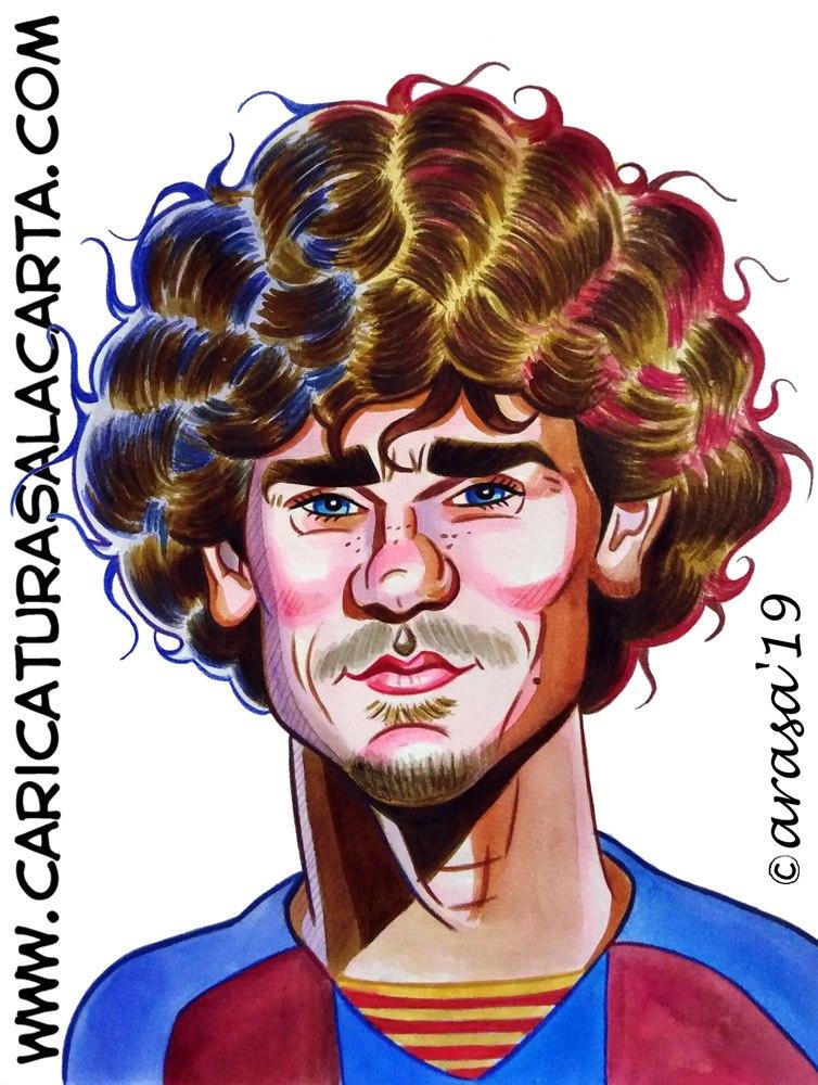 Caricaturas de famosos futbolistas: Antoine Griezmann, jugador del Barça