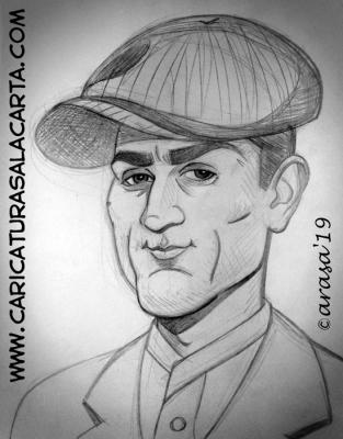 Boceto a lápiz de la futura caricatura en blanco y negro del actor Robert De Niro en la película El Padrino 2