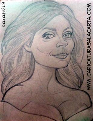 Boceto a lápiz de la futura caricatura al pastel de la veterana actriz americana Susan Sarandon, que actualmente interviene en la serie de televisión Ray Donovan