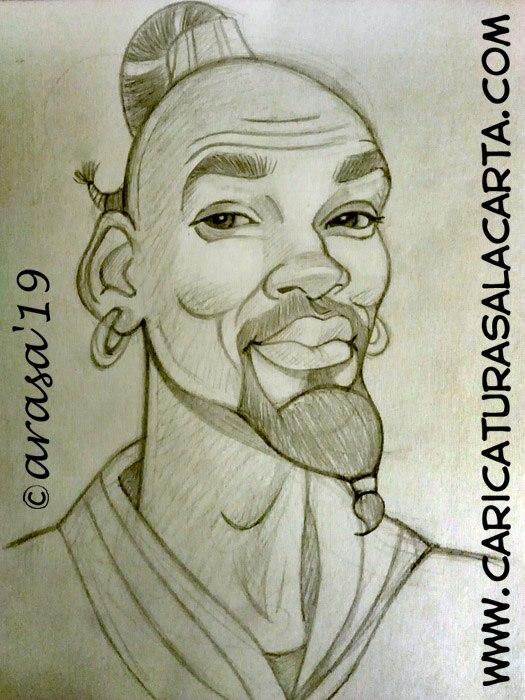 Caricaturas de famosos actores: boceto de Will Smith en Aladdin