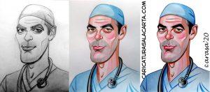 proceso creación caricatura George Clooney
