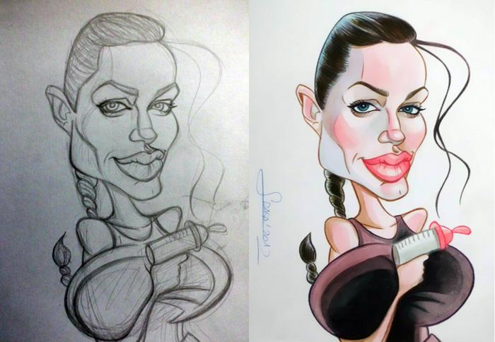 Caricatura y boceto de Angelina Jolie