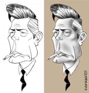 Caricatura de Marcello Mastroianni