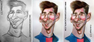 proceso creación caricatura de Leo Messi