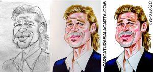 Proceso creación caricatura Brad Pitt