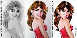 Proceso de la creación de la caricatura de Penélope Cruz en 3 fases (lápiz, acuarela, lápiz color)