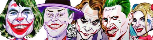banner especial caricaturas joker y margot robbie harley quinn